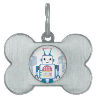 Novedades azules frescas de los regalos del robot placa de nombre de mascota
