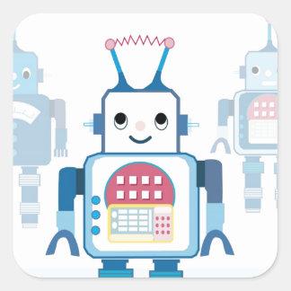 Novedades azules frescas de los regalos del robot pegatina cuadrada