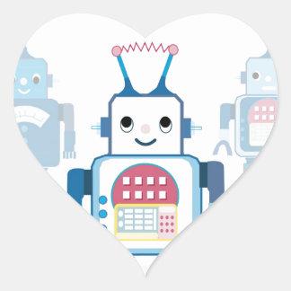 Novedades azules frescas de los regalos del robot pegatina en forma de corazón