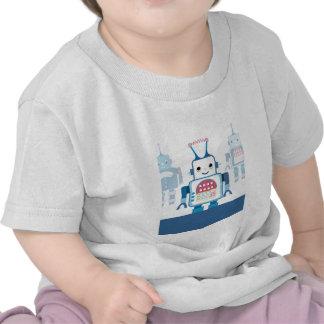 Novedades azules frescas de los regalos del robot camiseta