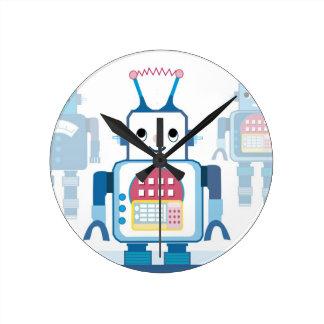Novedades azules frescas de los regalos del robot reloj redondo mediano
