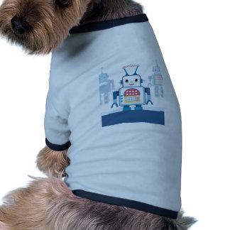 Novedades azules frescas de los regalos del robot camisas de mascota