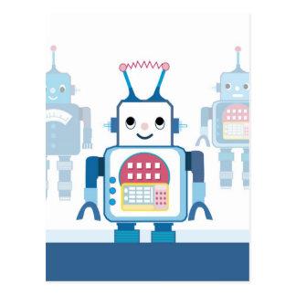Novedades azules frescas de los regalos del robot tarjetas postales
