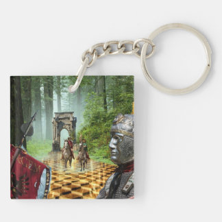 Novel Ghost Forrest Double-Sided Square Acrylic Keychain
