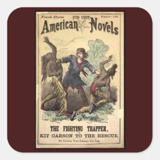 Novela de moneda de diez centavos Kit Carson Pegatina Cuadrada