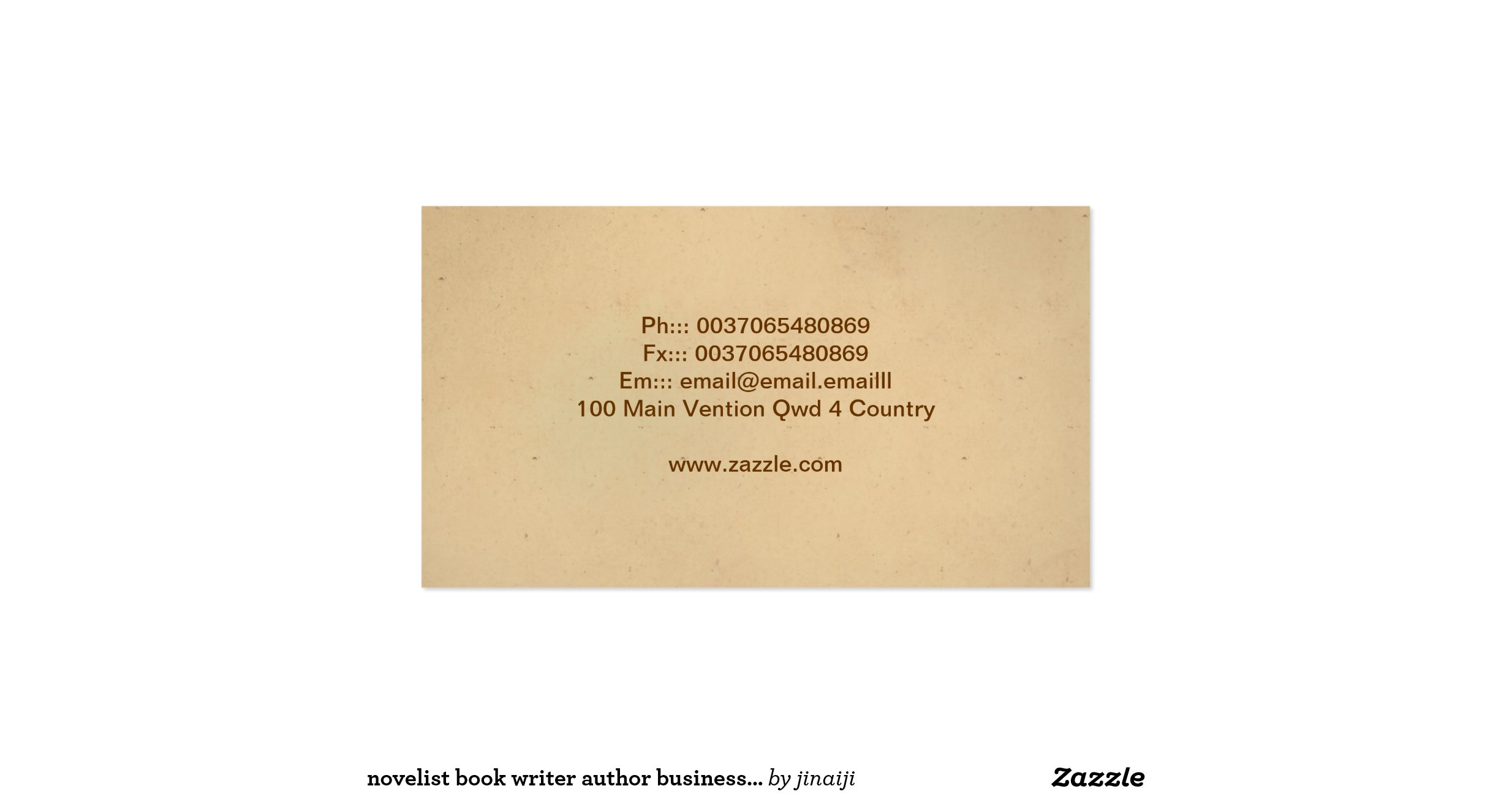 Novelist book writer author business card for Author business card