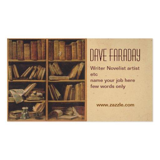 Novelist book writer author business card standard for Author business card