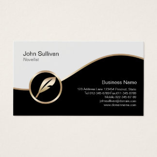 Novelist Business Card Gold Quill Icon