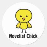 Novelist Chick Round Stickers