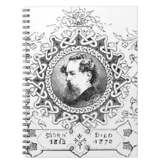Novelista famoso de la bandera de Charles Dickens Cuaderno