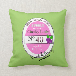 Novelty 40th Milestone Birthday Funny Wine Label Throw Pillow