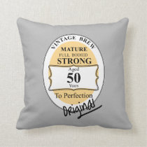 Novelty 50th Milestone Birthday Funny BeerLabel Throw Pillow