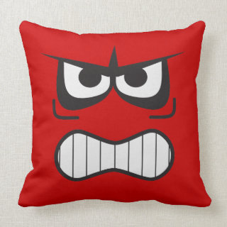 Novelty Angry Furious Smiley Face Throw Pillow