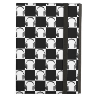 Novelty Black & White Checks & Headphones Pattern Cover For iPad Air