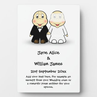 Novelty Bride & Groom Cartoon Wedding Memento Plaque