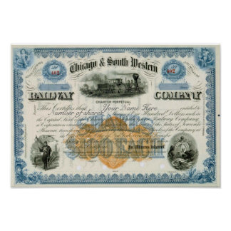 Novelty Chicago & South Western Stock Certificate Poster