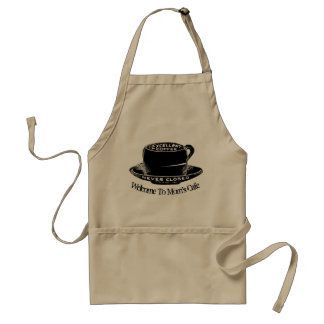 Novelty Coffee Cup Welcome To Moms Cafe Adult Apron