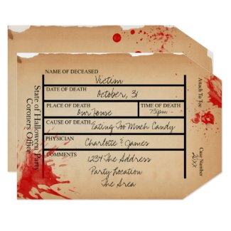 Novelty Coroners Toe Tag Halloween Invitation