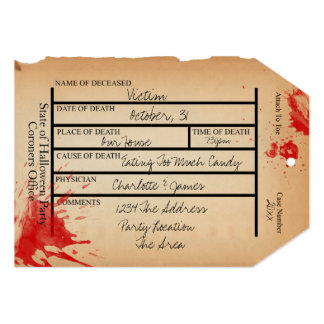Novelty Coroners Toe Tag Halloween 5x7 Paper Invitation Card