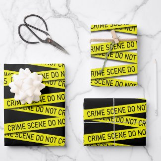 Novelty Crime Scene Do Not Cross Pattern Wrapping Paper Sheets