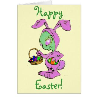 Novelty Easter Bunny Alien Design Greeting Card