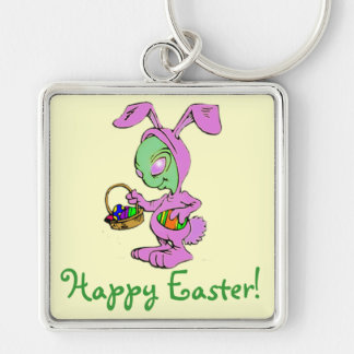 Novelty Easter Bunny Alien Design Keychain