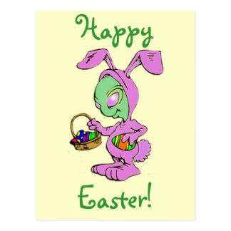 Novelty Easter Bunny Alien Design Postcard
