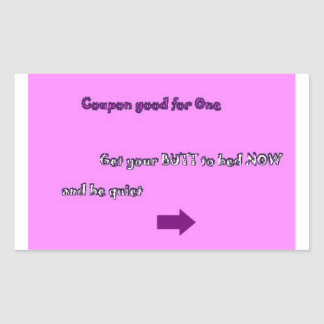 Novelty Get to bed coupon sticker