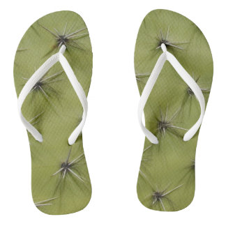 Novelty green cactus pricks image beach flip flops
