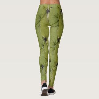 Novelty green cactus pricks print leggings