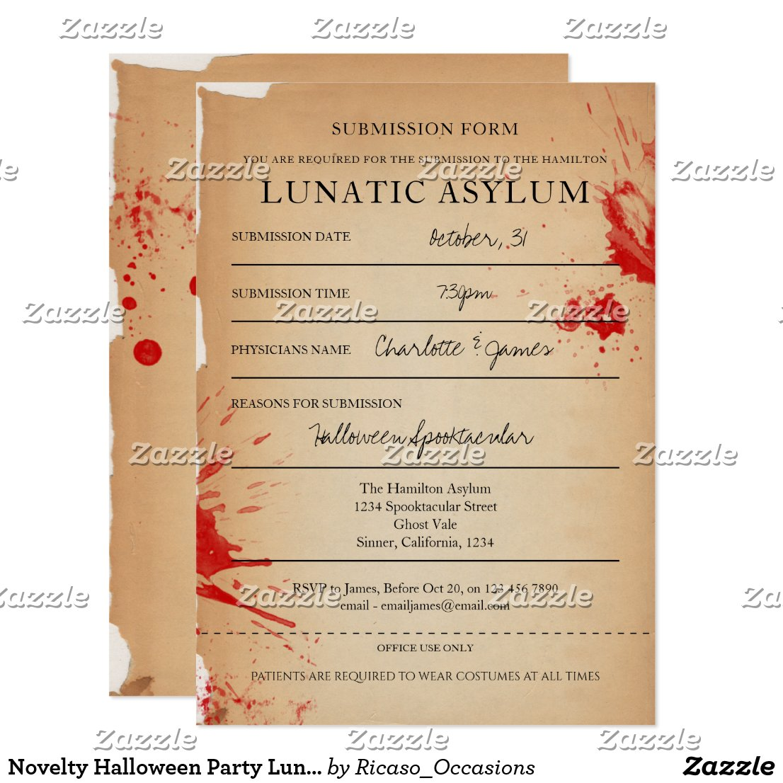 Novelty Halloween Party Lunatic Asylum Invitation