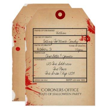 Halloween Themed Novelty Halloween Party Toe Tag Coroners Office Card
