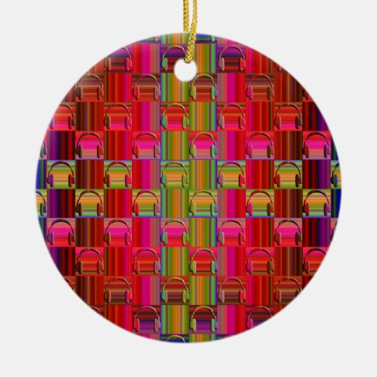 Novelty Headphones Multicolored Mosaic Pattern Ceramic Ornament