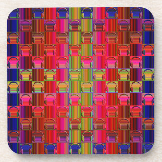Novelty Headphones Multicolored Mosaic Pattern Beverage Coasters