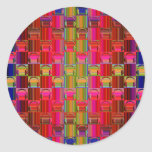 Novelty Headphones Multicolored Mosaic Pattern Round Sticker