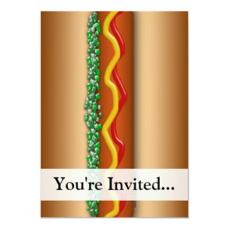 Novelty Hot Dog Graphic 5x7 Paper Invitation Card