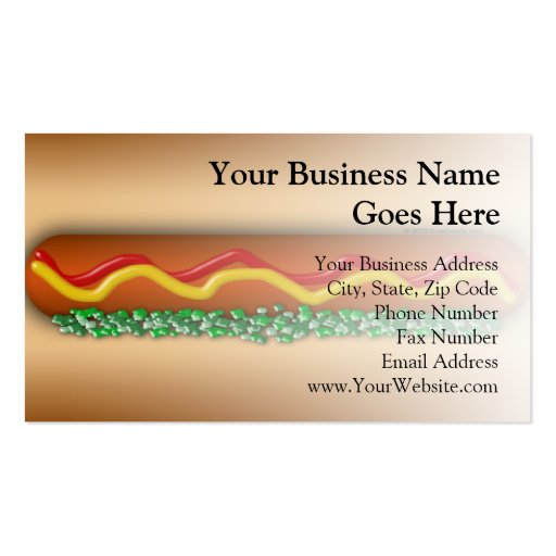 Novelty hot dog graphic business card zazzle for Novelty business cards