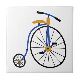 Novelty Old Fashioned Bike Blue Ceramic Tile