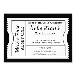 Novelty Party Admission Ticket Black And White 5x7 Paper Invitation Card