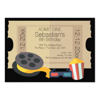 Novelty Party Admission Ticket Popcorn Movie Reel 5x7 Paper Invitation Card