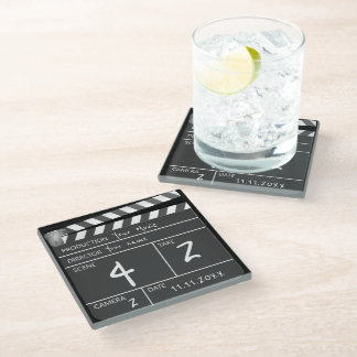 Novelty Personalized Custom Movie Clapperboard Glass Coaster
