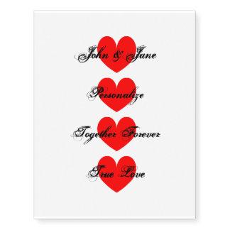 Novelty vintage love heart temporary tattoos