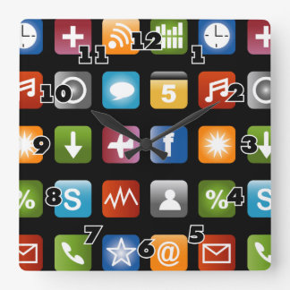 Novelty wall clock   Fun vector app icon graphics