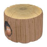 Novelty Woodland Forest Tree Stump Owl Round Pouf