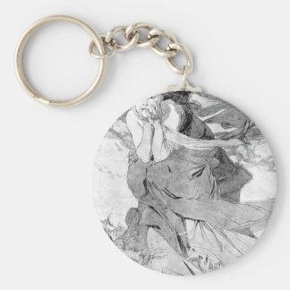 Novem by Alphonse Mucha Basic Round Button Keychain