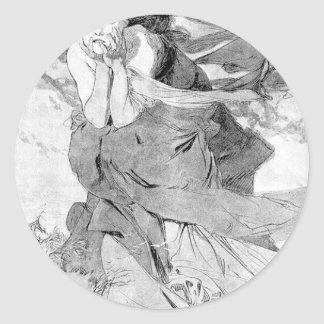 Novem by Alphonse Mucha Classic Round Sticker