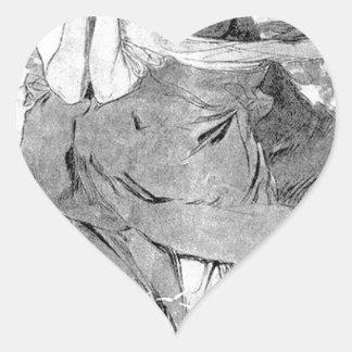 Novem by Alphonse Mucha Heart Sticker