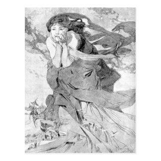 Novem by Alphonse Mucha Postcard