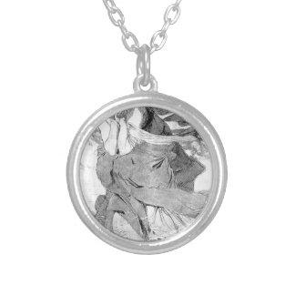 Novem by Alphonse Mucha Round Pendant Necklace