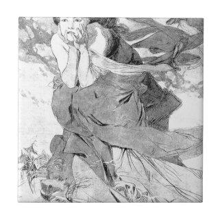 Novem by Alphonse Mucha Small Square Tile